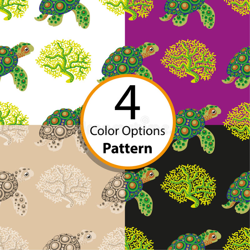 Картина 4 вариантов безшовная с тропическими черепахой и кораллом иллюстрация штока