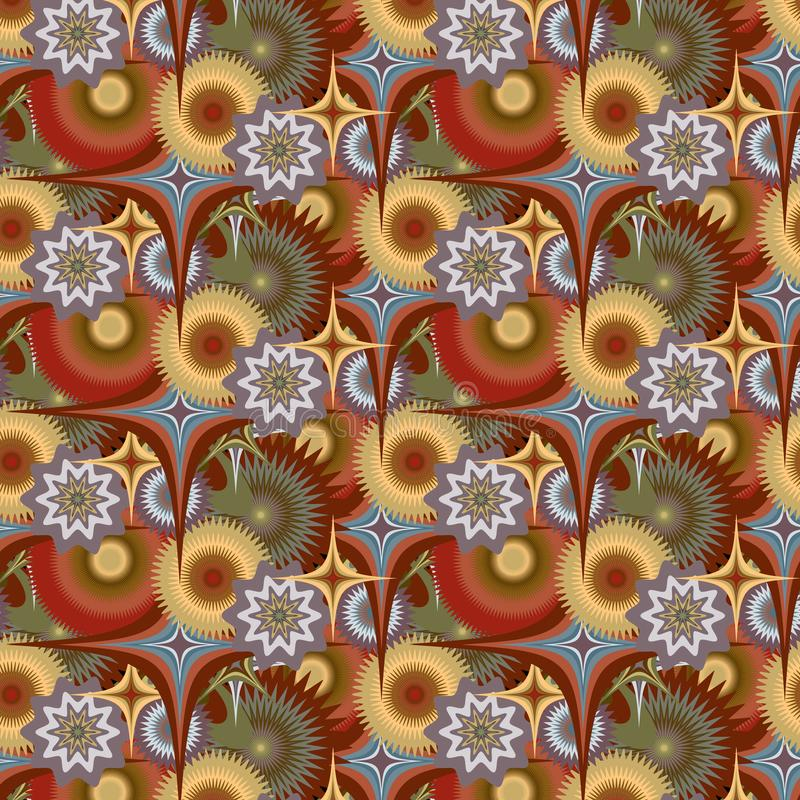 Картина вектора абстрактная безшовная флористическая психоделическая красочная Повторять винтажную предпосылку бесплатная иллюстрация