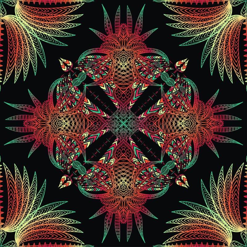 Картина вектора ацтекская геометрическая безшовная Латино-американский орнамент иллюстрация штока