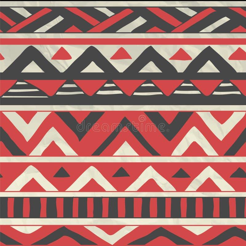 Картина вектора ацтекская племенная безшовная на скомканный иллюстрация штока