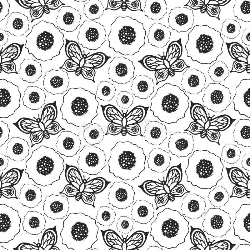 Картина вектора бабочек и маков безшовная иллюстрация штока