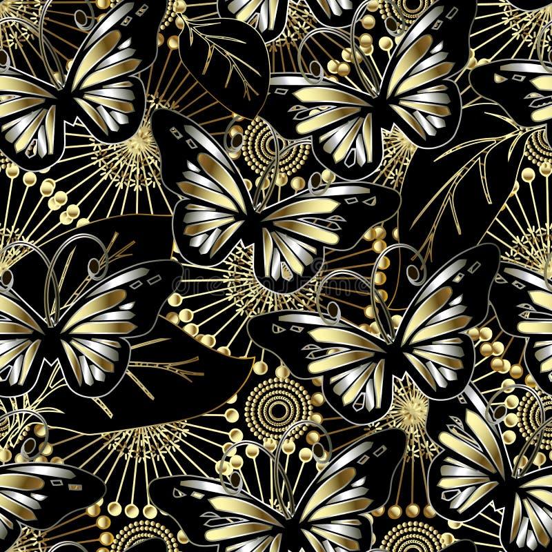 Картина вектора бабочек и цветков 3d безшовная Предпосылка конспекта орнаментальная флористическая Красивые цветки одуванчика зол бесплатная иллюстрация