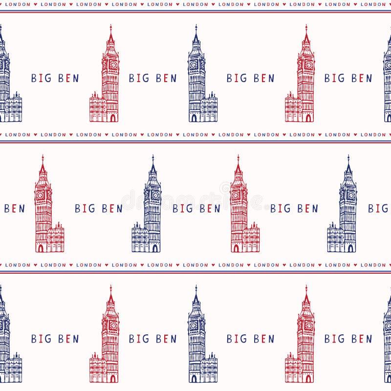 Картина вектора башни с часами Лондона большого Бен силуэта безшовная известно иллюстрация вектора