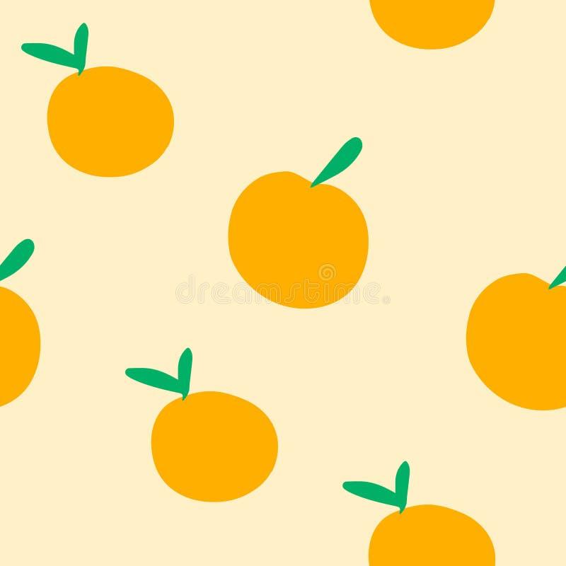 Картина вектора безшовная апельсинов на оранжевой предпосылке иллюстрация вектора