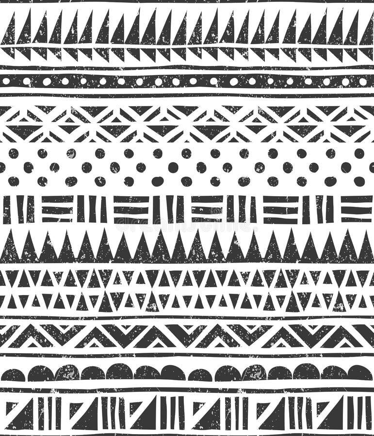 Картина вектора безшовная в племенном стиле Абстрактная печать блока бесплатная иллюстрация