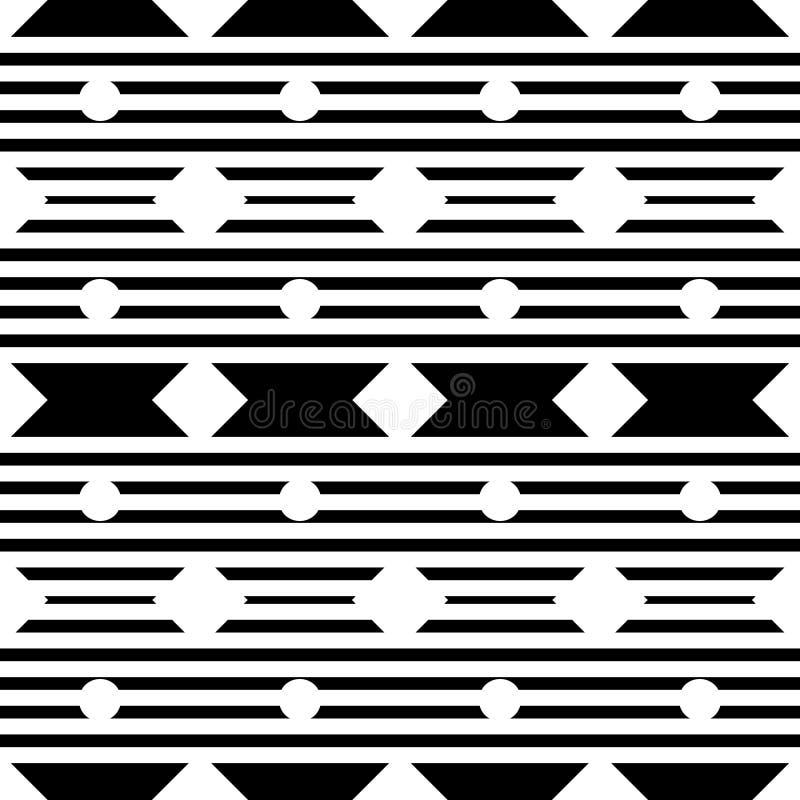 Картина вектора безшовная геометрическая с небольшой полькой, диамантом и нашивками, линиями формами, крошечными косоугольниками, иллюстрация вектора