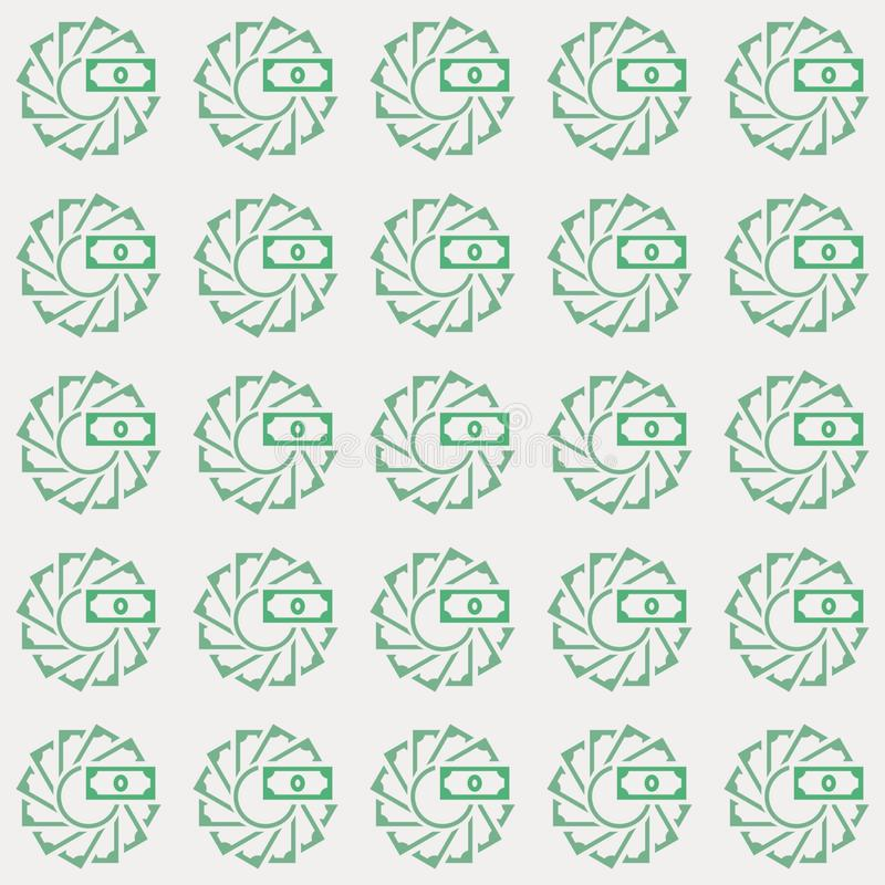 Картина вектора безшовная денег в творческом стиле круга петли иллюстрация штока