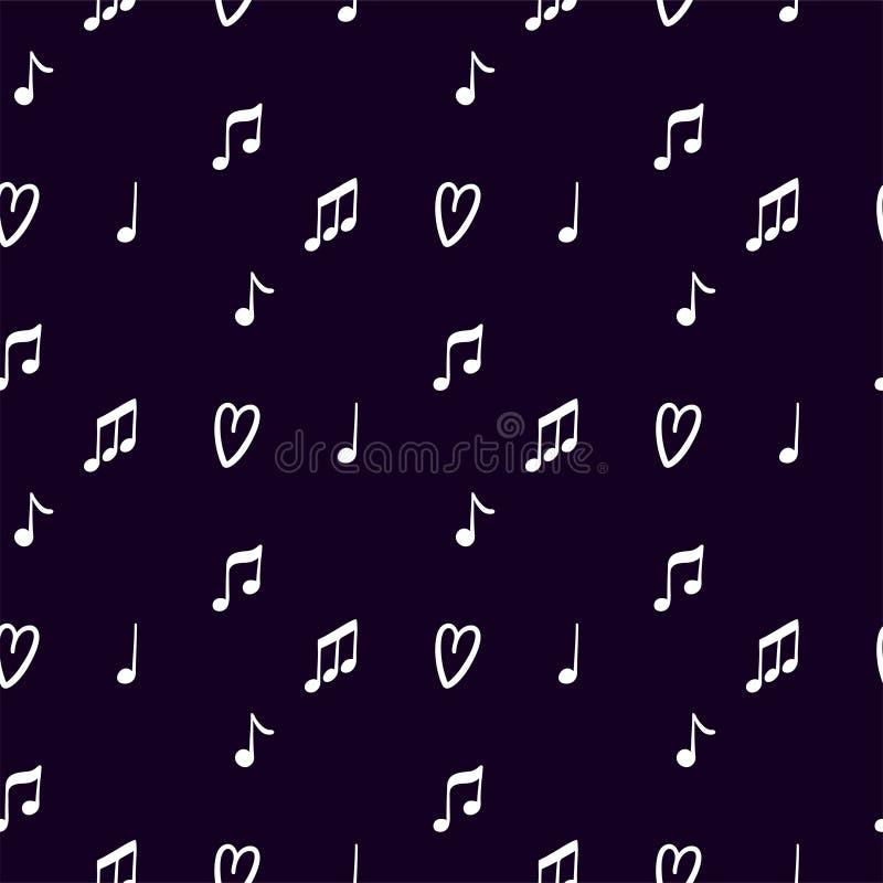 Картина вектора безшовная для дизайна украшения с примечаниями музыки на темной предпосылке бесплатная иллюстрация