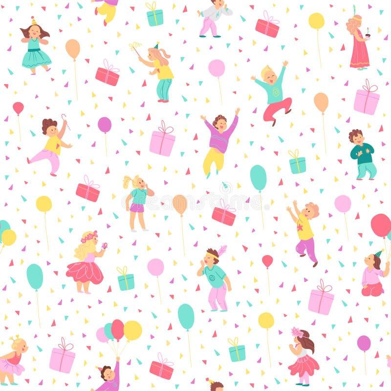 Картина вектора безшовная для дня рождения детей Плоской стиль нарисованный рукой Счастливые характеры ребенк, воздушные шары, по бесплатная иллюстрация