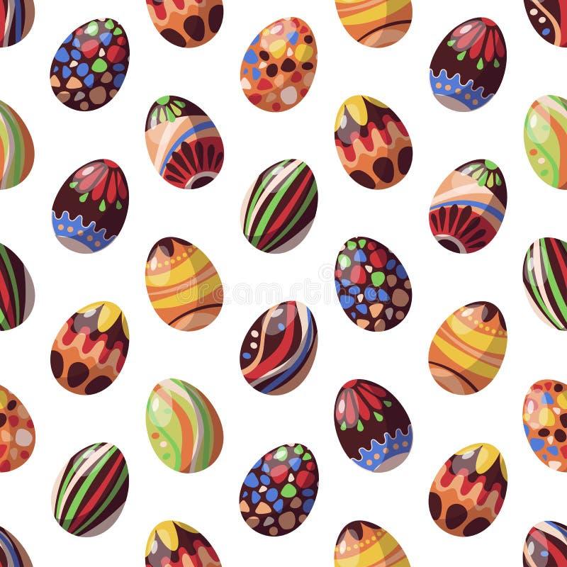 Картина вектора безшовная на яйцах шоколада темы пасхи иллюстрация штока