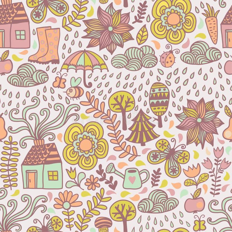 Картина вектора безшовная, осень doodles карточка Деревья притяжки руки иллюстрация штока