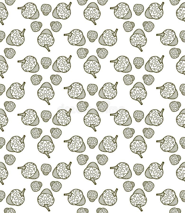 Картина вектора безшовная от жолудей Графическая предпосылка иллюстрация штока