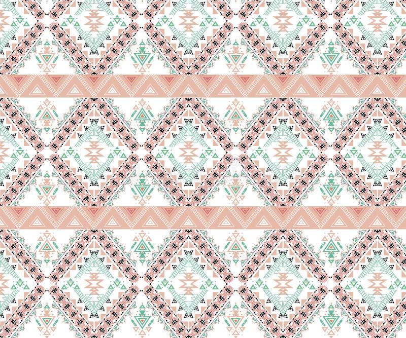 Картина вектора безшовная племенная Орнамент печати стильного искусства этнический с треугольниками, иллюстрация вектора