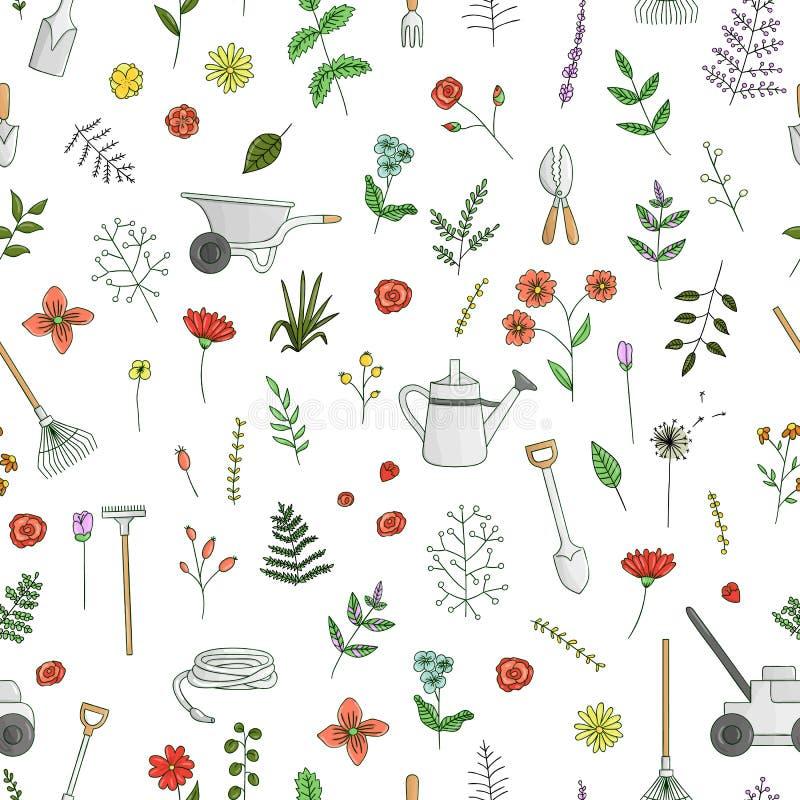 Картина вектора безшовная покрашенных садовых инструментов, цветков, трав, заводов иллюстрация штока