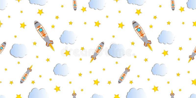 Картина вектора безшовная, предпосылка старта Ракеты, красочный шаблон иллюстрации, космический корабль, звезды и облака бесплатная иллюстрация