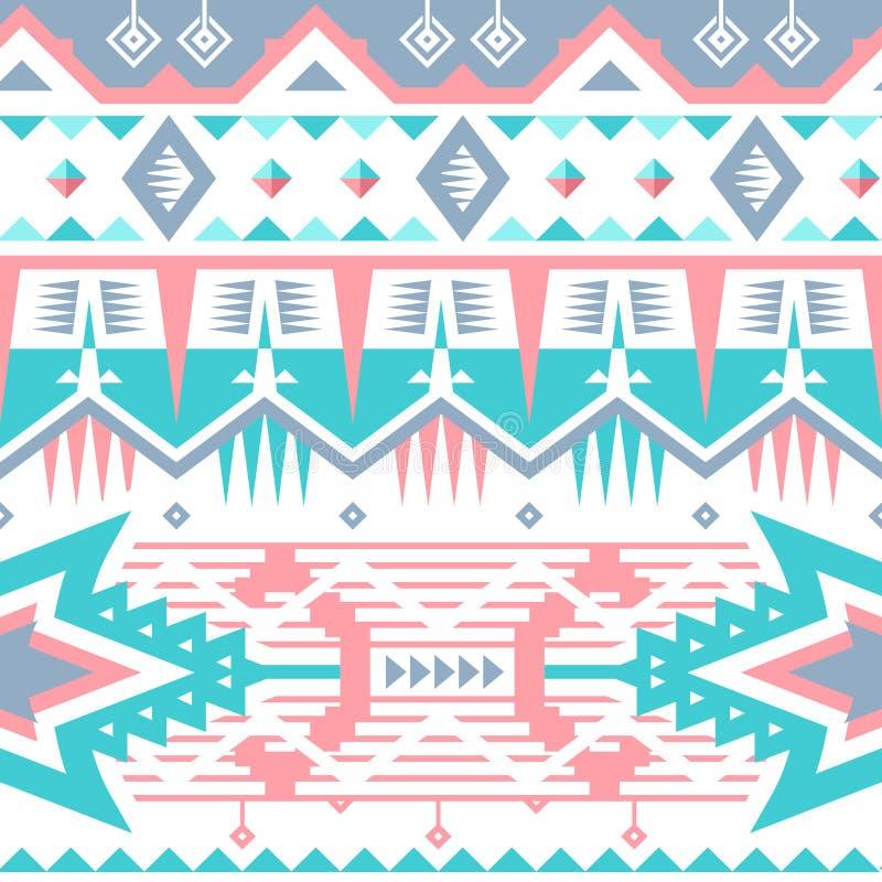 Картина вектора безшовная племенная для дизайна ткани иллюстрация штока