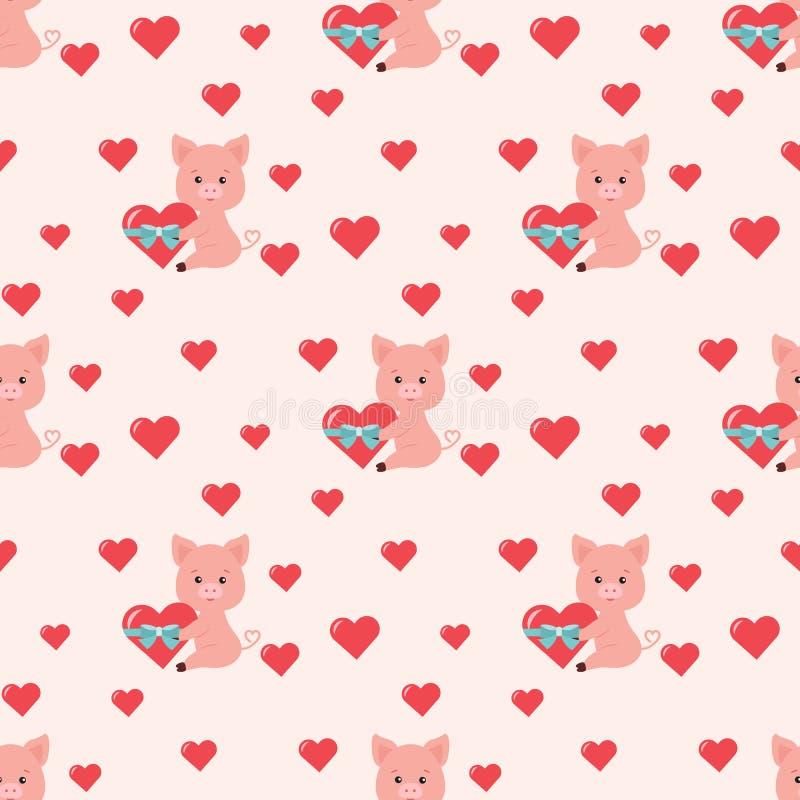 Картина вектора безшовная романтичная с милой свиньей с красным сердцем и голубой смычок, меньшие сердца на розовой предпосылке иллюстрация вектора