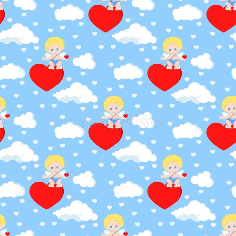 Картина вектора безшовная романтичная с милым купидоном сидя на сердце иллюстрация штока