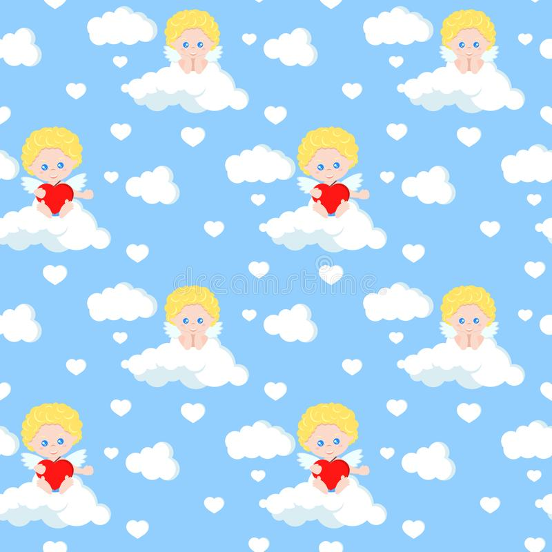 Картина вектора безшовная романтичная с милым купидоном сидя на облаке с красным сердцем на голубой предпосылке рая иллюстрация штока