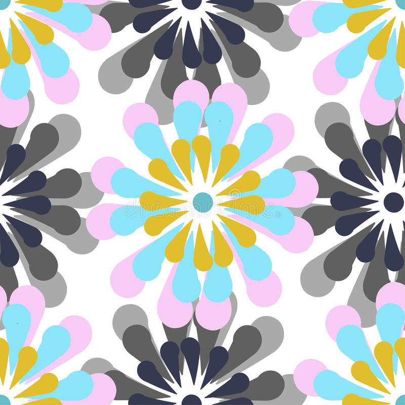 Картина вектора безшовная, стилизованные цветки стоковая фотография rf
