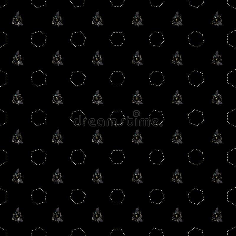 Картина вектора безшовная с абстрактными флористическими и шестиугольными текстурами иллюстрация штока