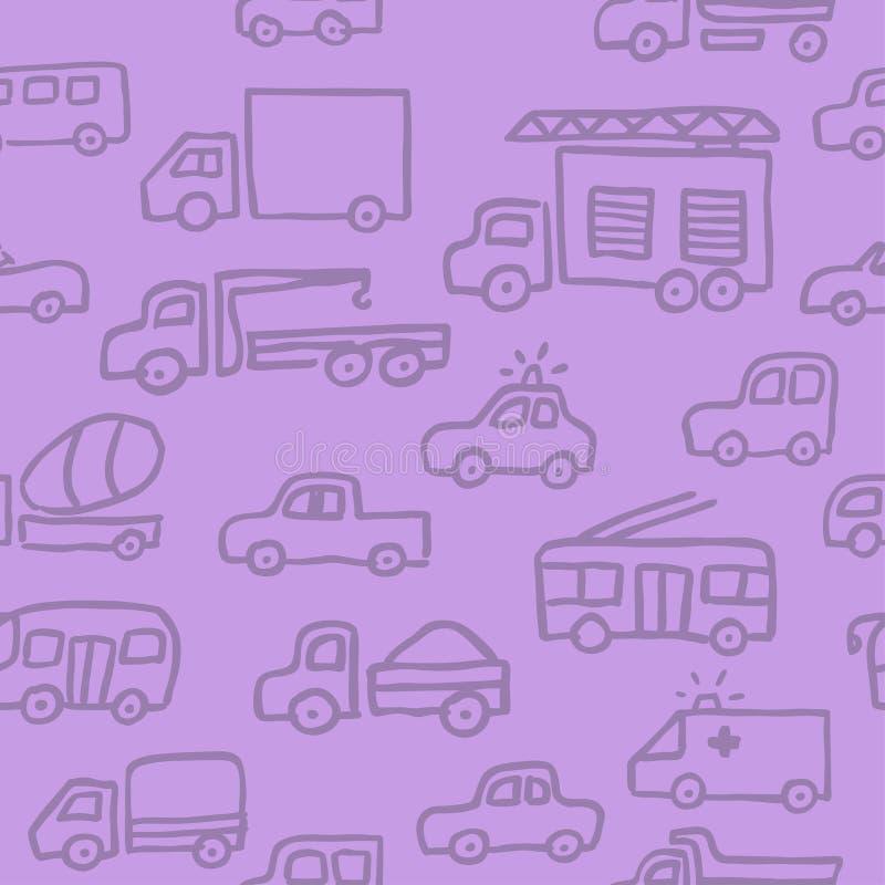 Картина вектора безшовная с автоматическими изображениями плана doodle Противопожарная тележка, тележка и другие машины в пурпурн иллюстрация вектора