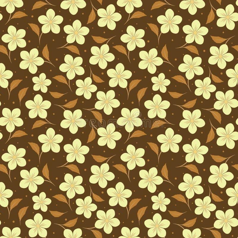 Картина вектора безшовная с бежевыми цветками на темной предпосылке иллюстрация вектора