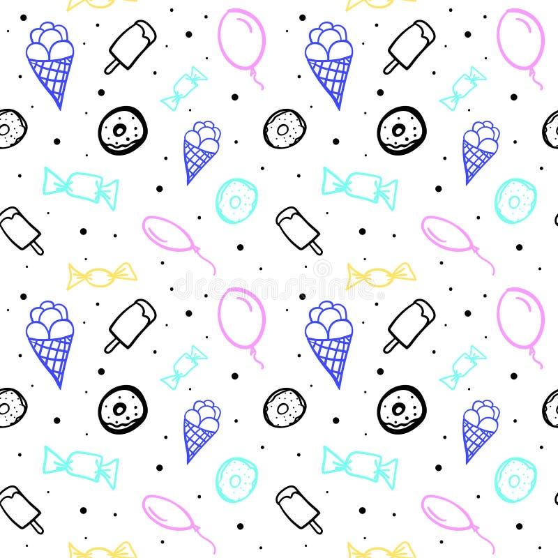 Картина вектора безшовная с воздушными шарами и различными помадками бесплатная иллюстрация