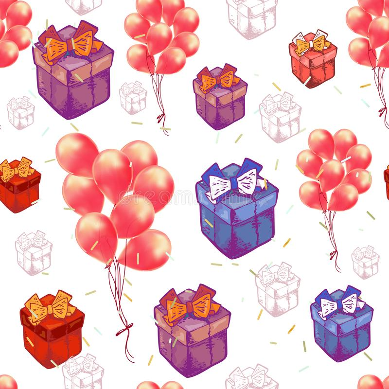 Картина вектора безшовная с воздушными шарами, подарочными коробками r Идея проекта для дня рождения праздников иллюстрация вектора