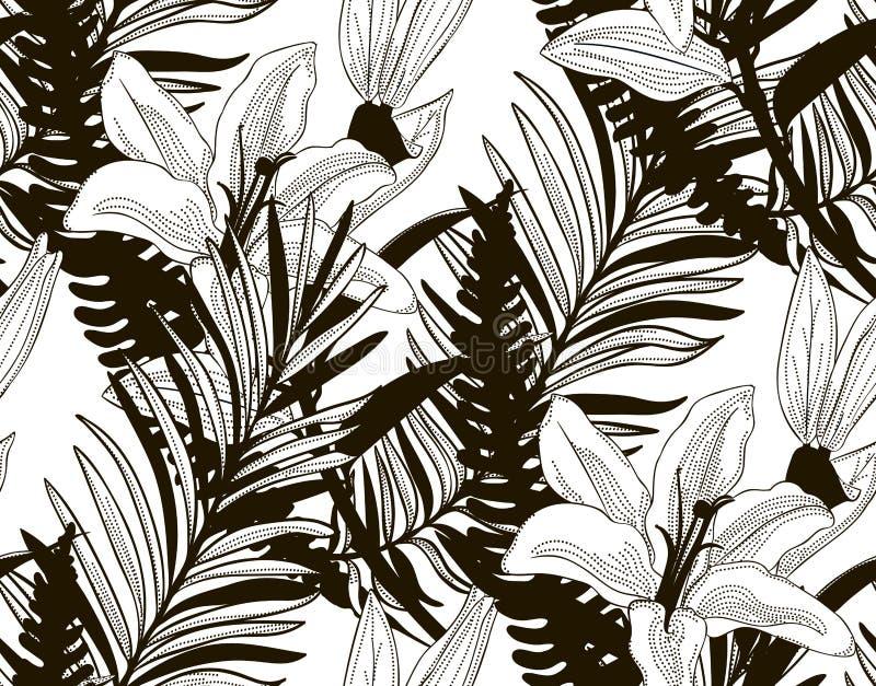 Картина вектора безшовная с вычерченными цветками и листьями бесплатная иллюстрация