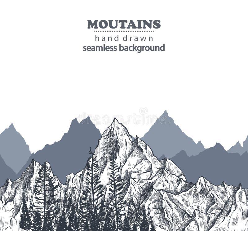 Картина вектора безшовная с горными цепями и сосновым лесом руки вычерченными графическими бесплатная иллюстрация