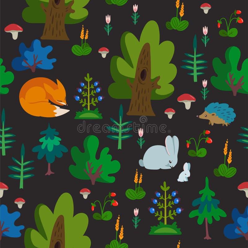 Картина вектора безшовная с дикими животными в текстуре руки леса вычерченной с милой лисой, кроликом и ежом Деревья и другой иллюстрация штока