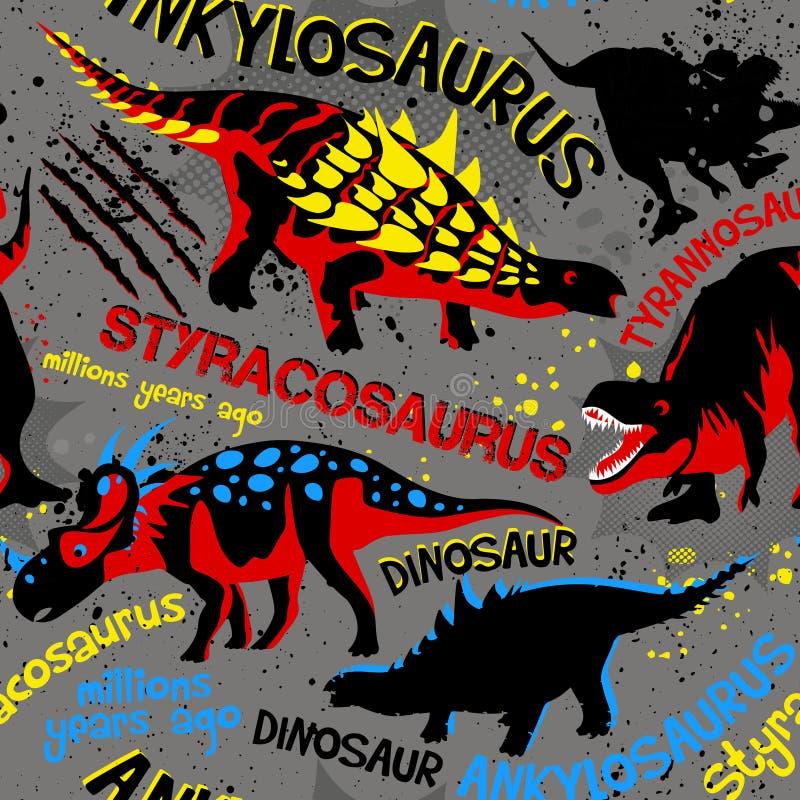 Картина вектора безшовная с динозаврами иллюстрация штока