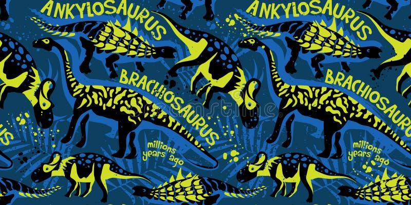 Картина вектора безшовная с динозаврами бесплатная иллюстрация