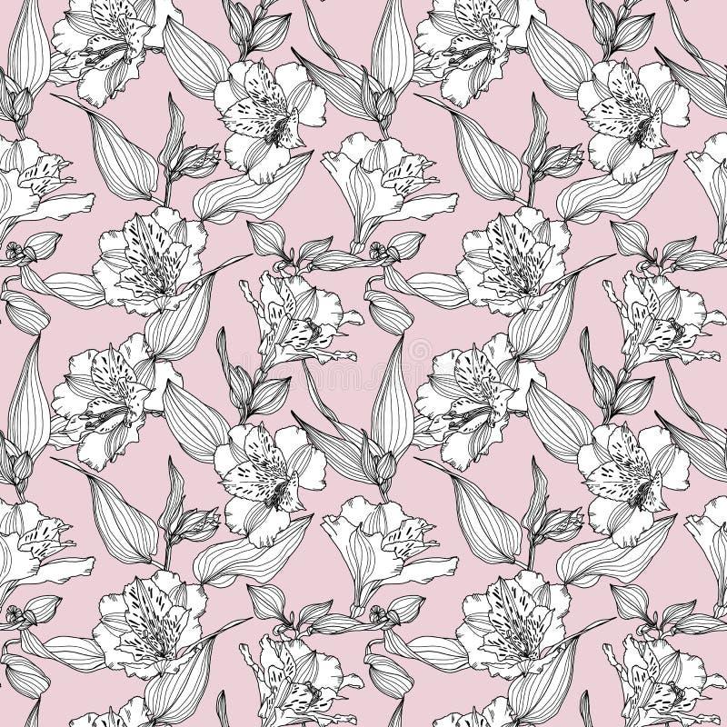 Картина вектора безшовная с заводами руки вычерченными Ботаническая предпосылка с цветками, листьями и ветвями Alstroemeria бесплатная иллюстрация