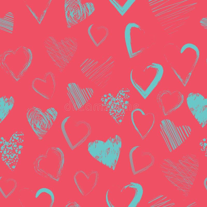 Картина вектора безшовная с каллиграфическими сердцами щетки стоковое изображение