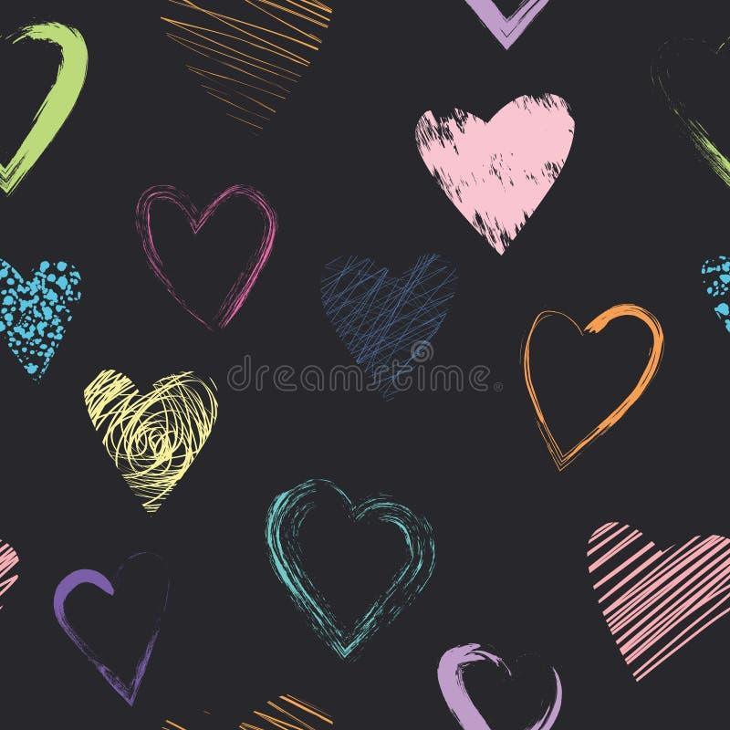 Картина вектора безшовная с каллиграфическими сердцами щетки стоковые изображения