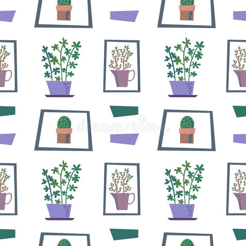 Картина вектора безшовная с комнатными растениями в цветочных горшка бесплатная иллюстрация