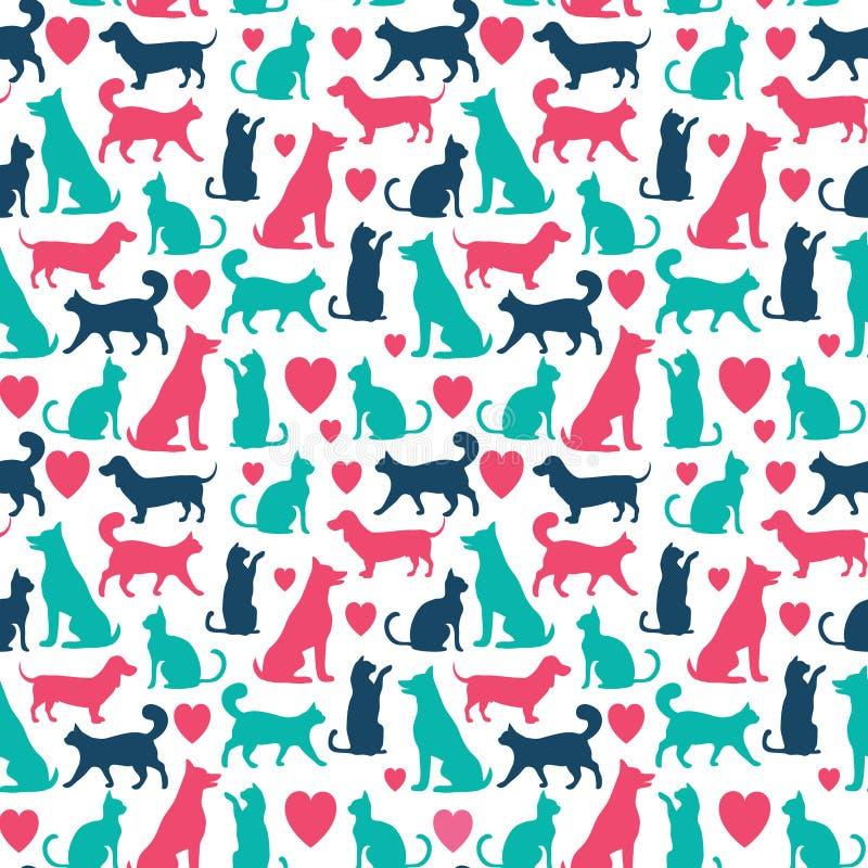 Картина вектора безшовная с котами и собаками бесплатная иллюстрация