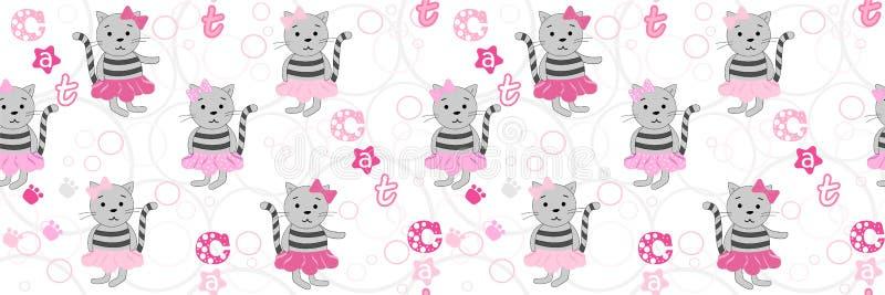 Картина вектора безшовная с котами мультфильма и надписью кота Иллюстрация вектора с котами мультфильма Печать для бесплатная иллюстрация