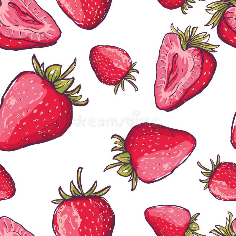Картина вектора безшовная с красными клубниками Предпосылка лета притяжки руки красочная с ягодами бесплатная иллюстрация