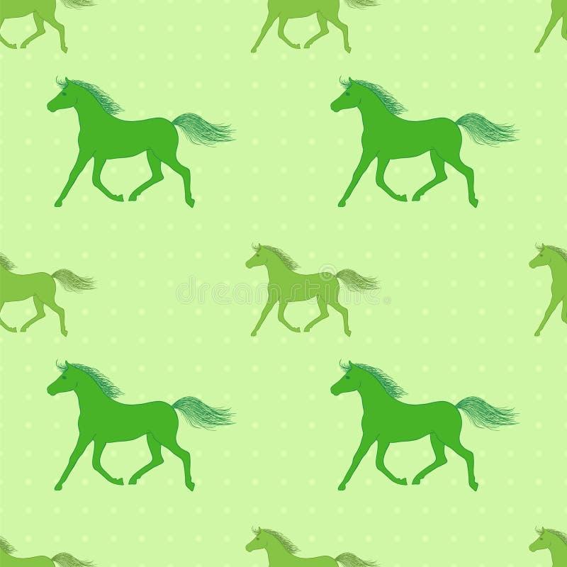 Картина вектора безшовная с красочными зелеными лошадями бесплатная иллюстрация