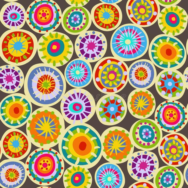 Картина вектора безшовная с кругом doodle Орнамент сетки геометрический связанные круги, стиль hippie, уютный шарф бесплатная иллюстрация