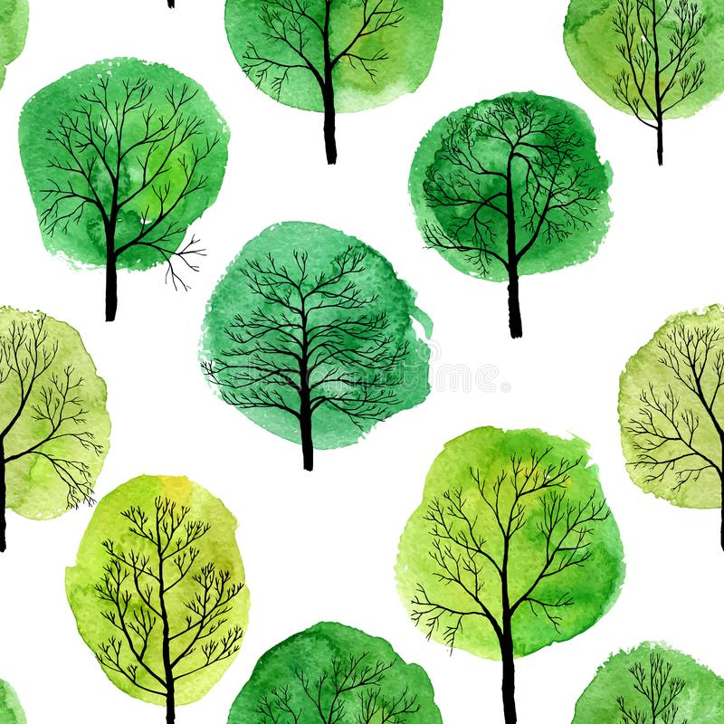 Картина вектора безшовная с лиственными деревьями иллюстрация вектора