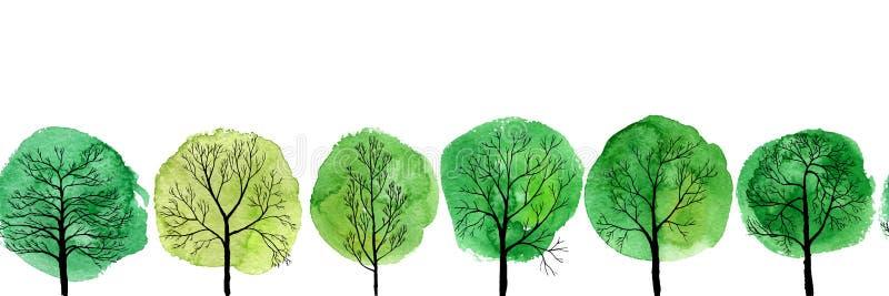 Картина вектора безшовная с лиственными деревьями иллюстрация штока