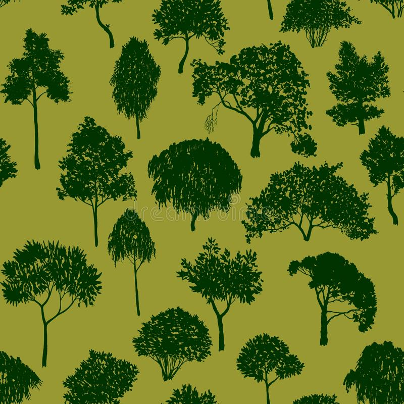 Картина вектора безшовная с лиственными деревьями бесплатная иллюстрация
