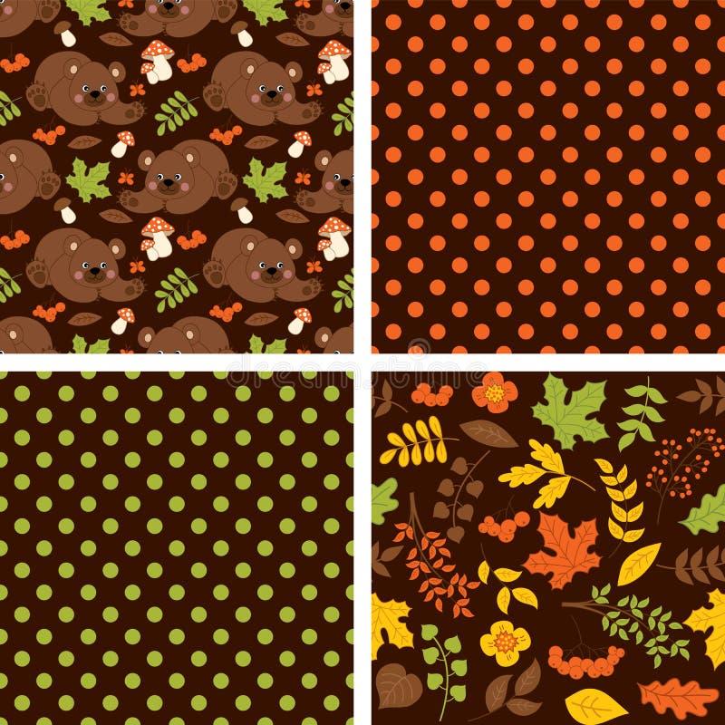 Картина вектора безшовная с милыми бурыми медведями, грибами, ягодами и листьями иллюстрация штока