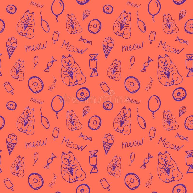 Картина вектора безшовная с милыми котами и помадками бесплатная иллюстрация