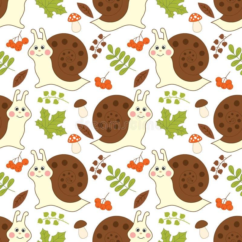 Картина вектора безшовная с милыми улитками, грибами, ягодами и листьями бесплатная иллюстрация