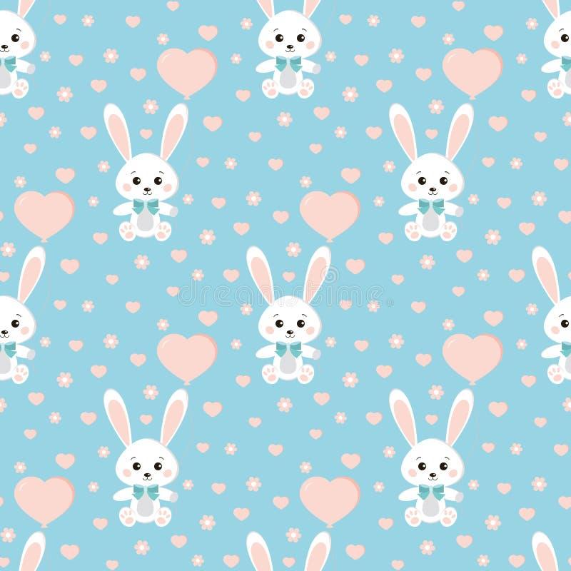 Картина вектора безшовная с милым кроликом или зайцами с бабочкой, баллоном, сердцами, цветками на голубой предпосылке бесплатная иллюстрация